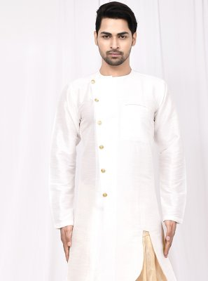 Art Silk Buttons Indo Western in White