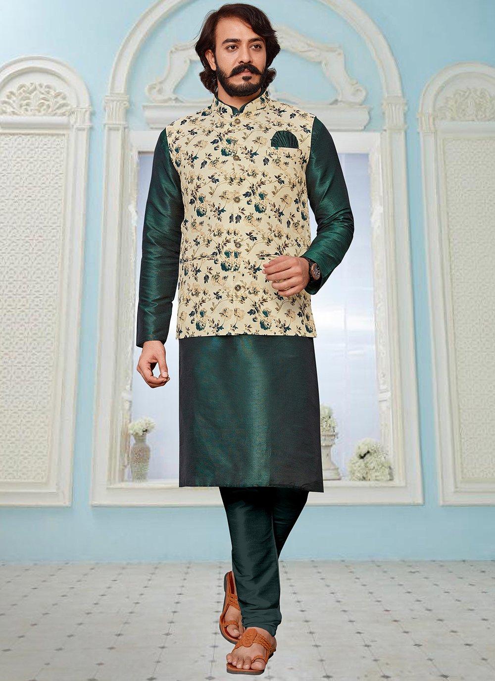 Art Silk Cream and Green Printed Kurta Payjama With Jacket