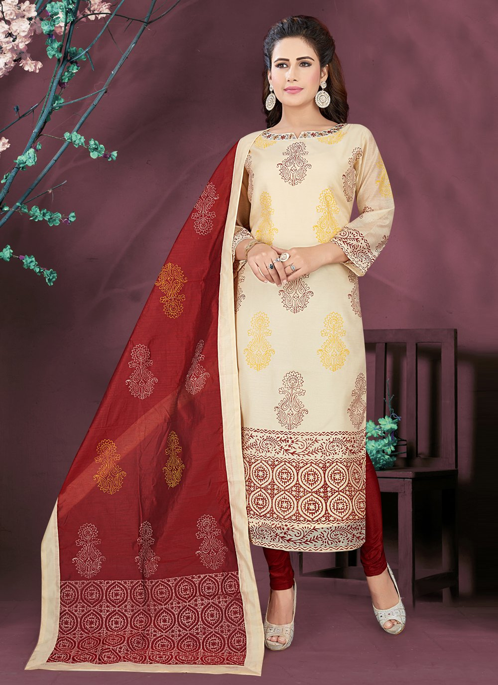 Art Silk Cream Fancy Readymade Suit