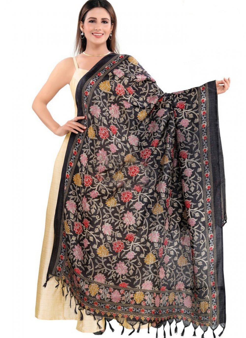 Art Silk Designer Dupatta in Black
