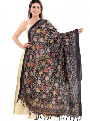 Art Silk Designer Dupatta in Black