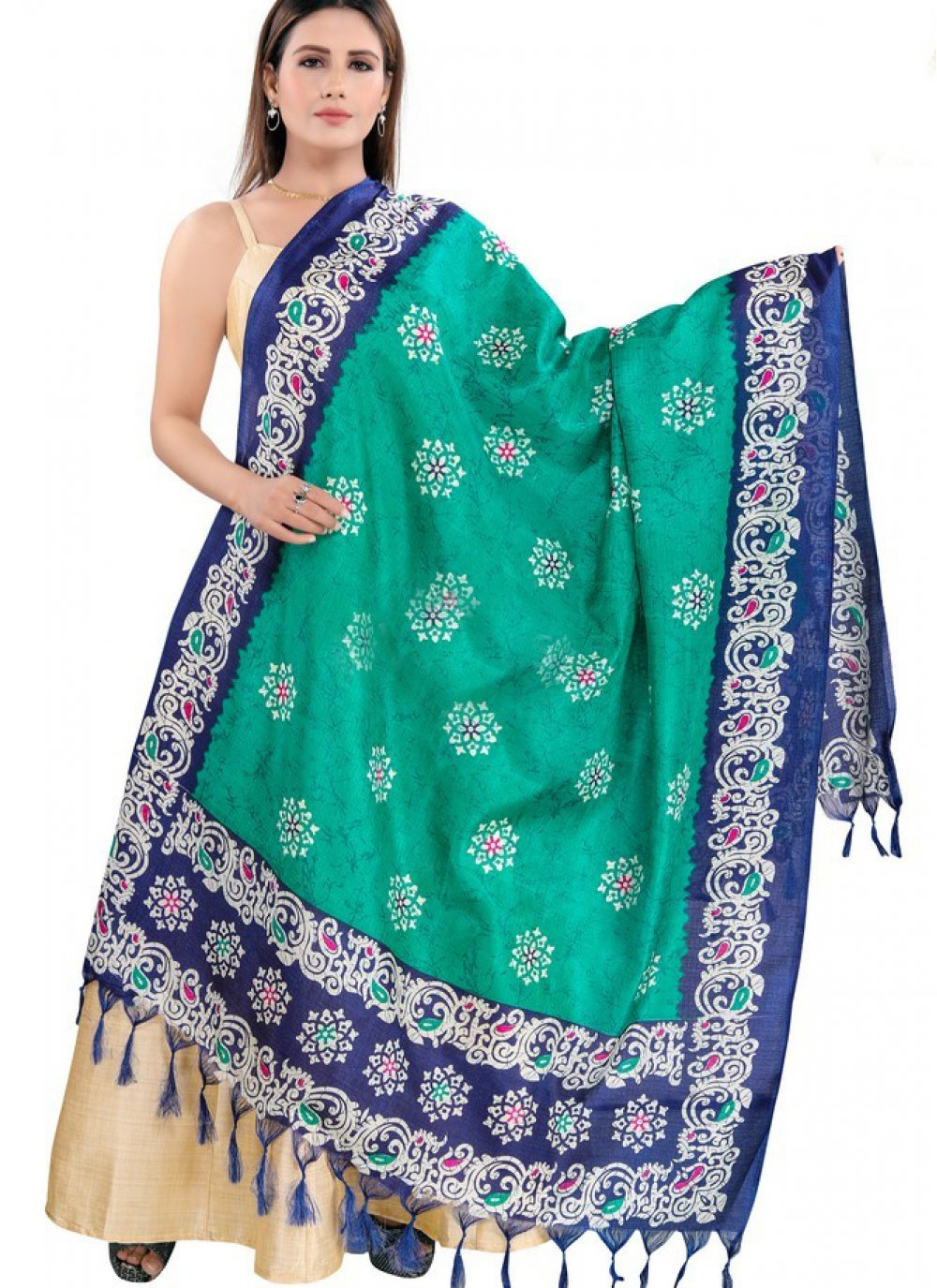 Art Silk Designer Dupatta in Blue and Green