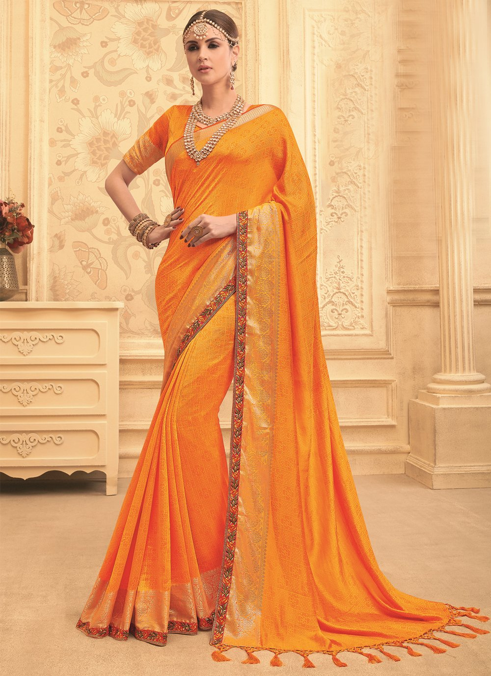 Art Silk Designer Traditional Saree in Orange