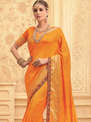 Art Silk Designer Traditional Saree in Orange