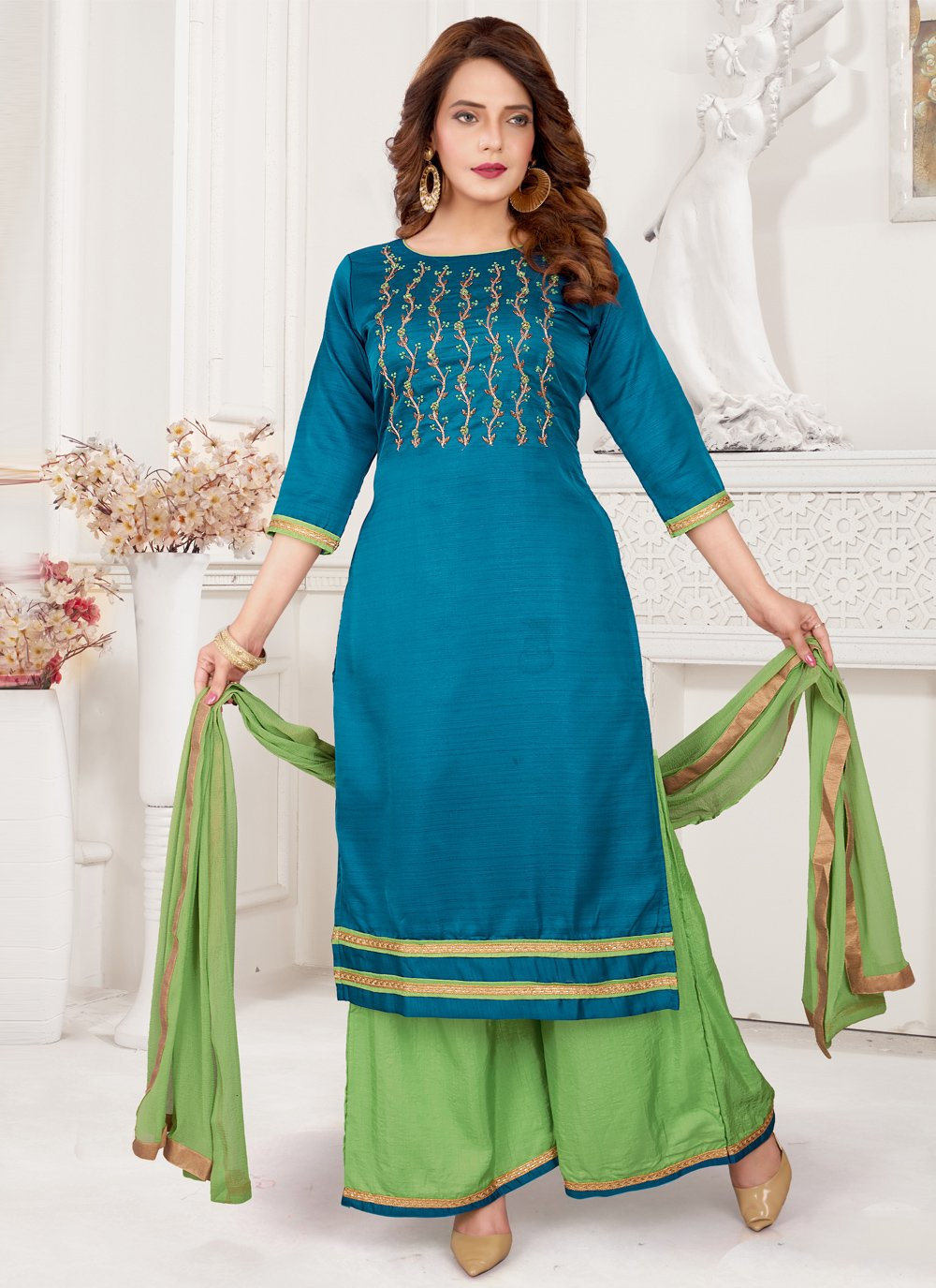 Art Silk Embroidered Blue Readymade Suit