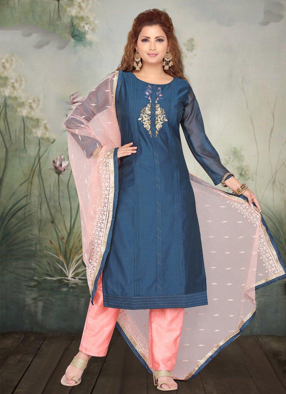 Art Silk Embroidered Bollywood Salwar Kameez in Blue