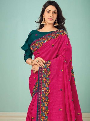 Art Silk Embroidered Classic Saree in Pink