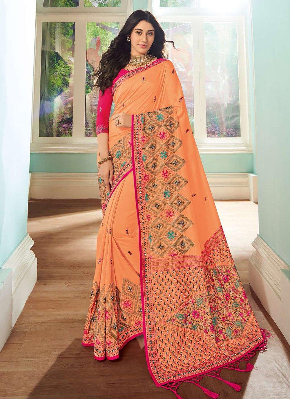 Art Silk Embroidered Contemporary Saree in Orange