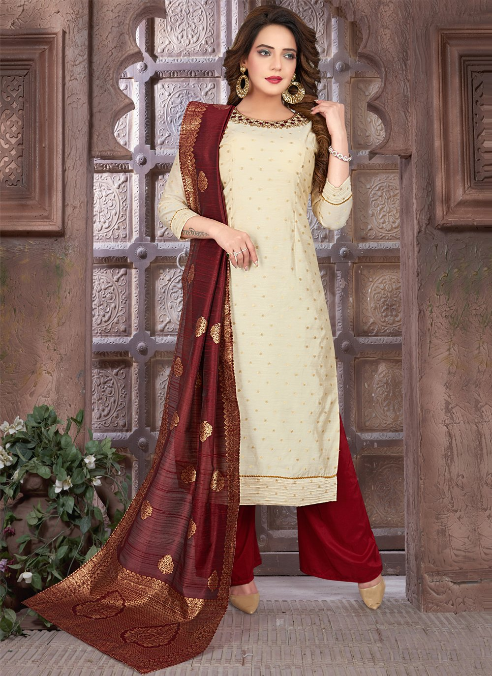 Art Silk Embroidered Cream and Maroon Readymade Suit