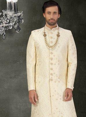 Art Silk Embroidered Cream Sherwani