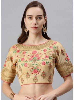 Art Silk Embroidered Designer Blouse in Beige