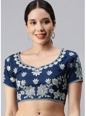 Art Silk Embroidered Designer Blouse in Blue