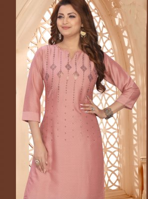 Art Silk Embroidered Designer Kurti