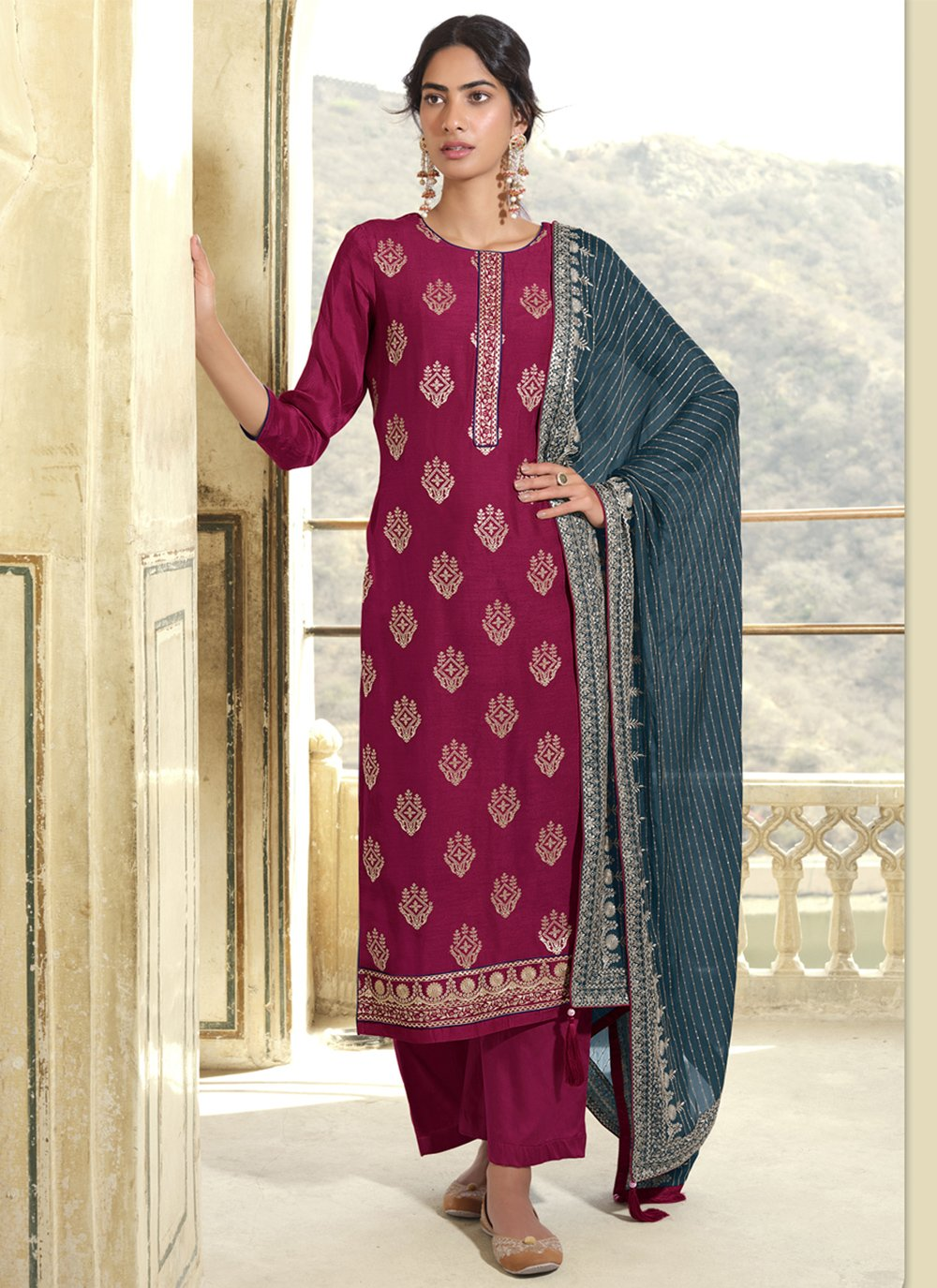 Art Silk Embroidered Designer Pakistani Suit in Magenta