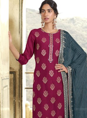 Art Silk Embroidered Designer Pakistani Suit in Magenta