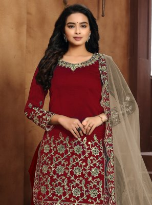 Art Silk Embroidered Designer Patiala Suit in Red