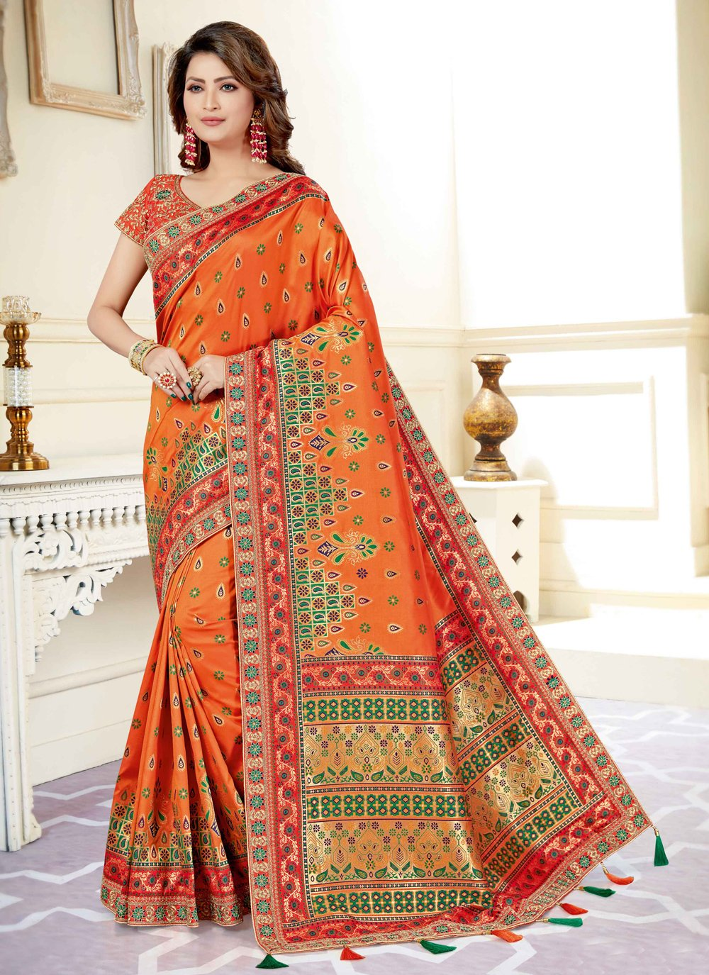Art Silk Embroidered Designer Traditional Saree in Orange