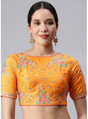 Art Silk Embroidered Gold Designer Blouse