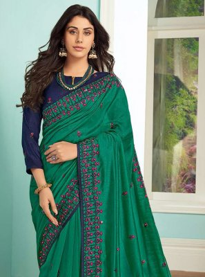 Art Silk Embroidered Green Traditional Saree