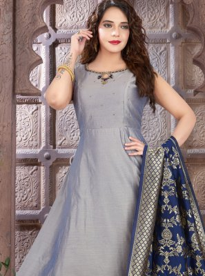 Art Silk Embroidered Grey Floor Length Anarkali Suit