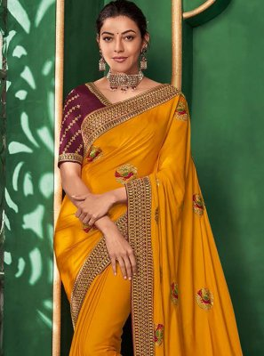 Art Silk Embroidered Mustard Trendy Saree