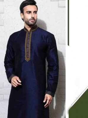 Art Silk Embroidered Navy Blue Sherwani