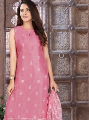 Art Silk Embroidered Pink Readymade Suit