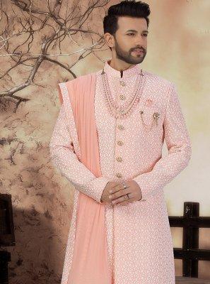Art Silk Embroidered Pink Sherwani
