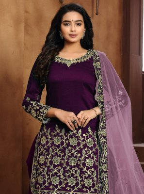 Art Silk Embroidered Purple Designer Patiala Suit