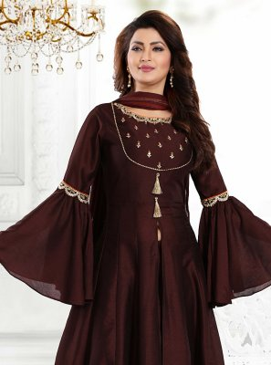 Art Silk Embroidered Readymade Suit in Brown