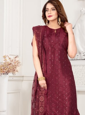 Art Silk Embroidered Readymade Suit in Wine