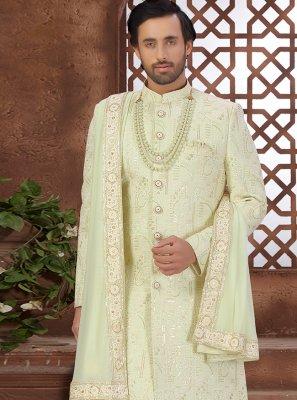 Art Silk Embroidered Sherwani in Green