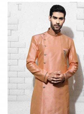 Art Silk Embroidered Sherwani in Peach