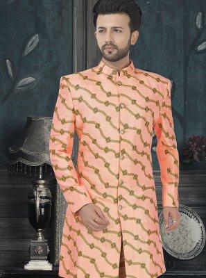 Art Silk Embroidered Sherwani in Peach