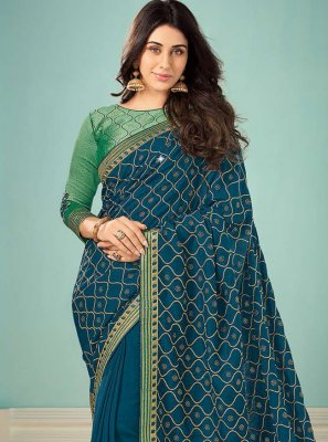 Art Silk Embroidered Teal Classic Saree