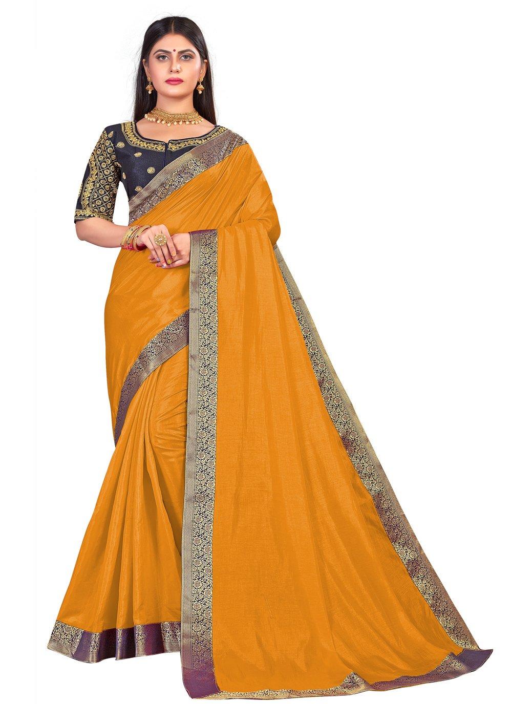 Art Silk Embroidered Traditional Designer Saree in Mustard