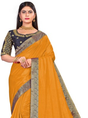 Art Silk Embroidered Traditional Designer Saree in Mustard