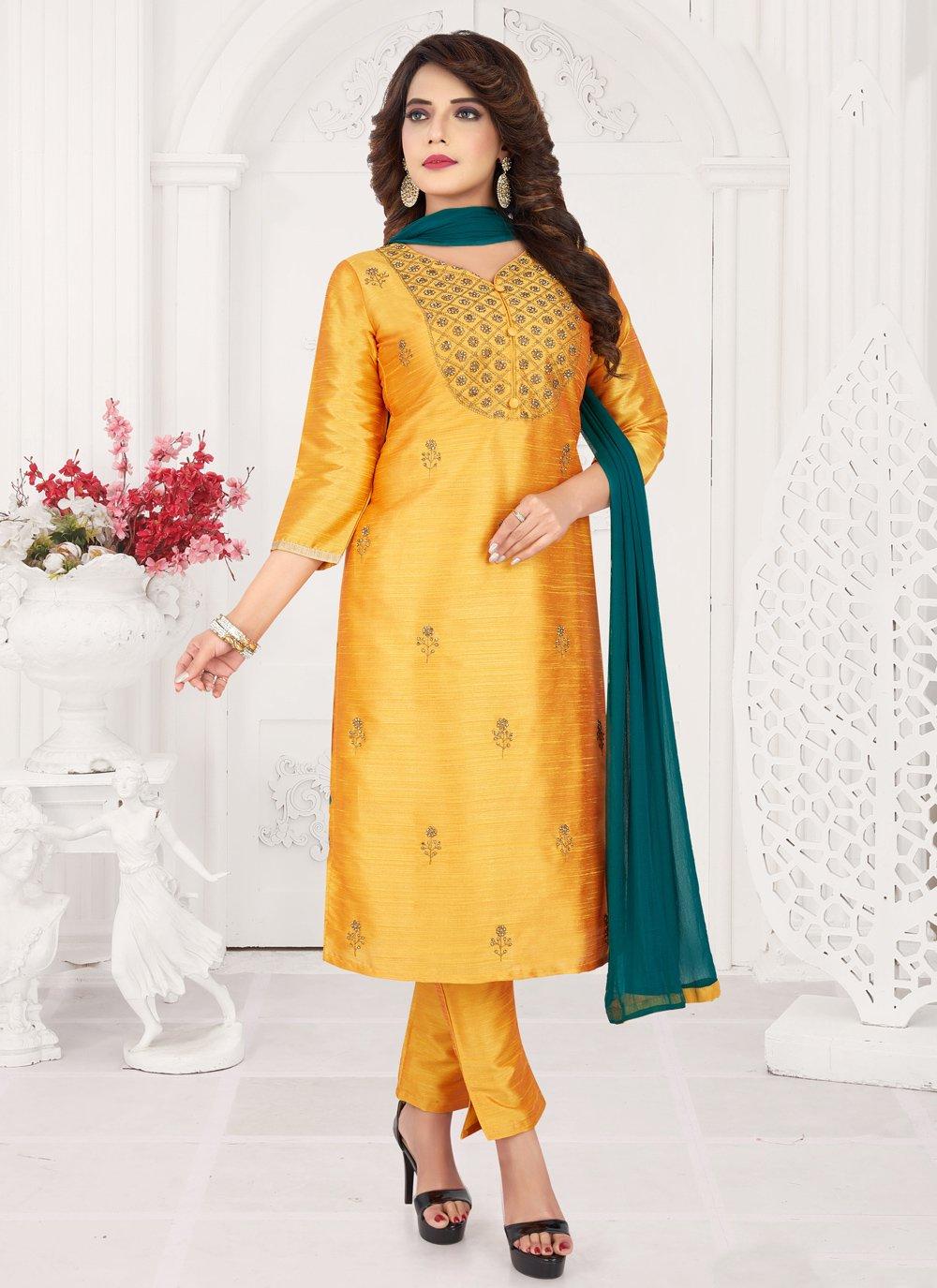 Art Silk Embroidered Trendy Salwar Kameez