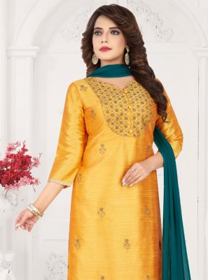 Art Silk Embroidered Trendy Salwar Kameez