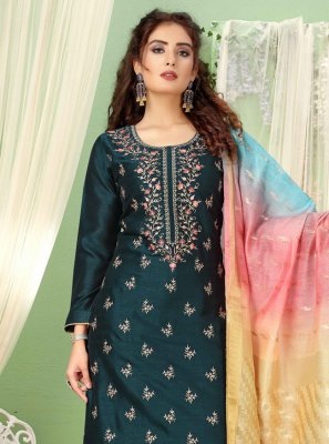 Art Silk Embroidered Trendy Salwar Kameez in Teal