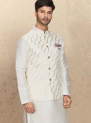 Art Silk Embroidered White Kurta Payjama With Jacket
