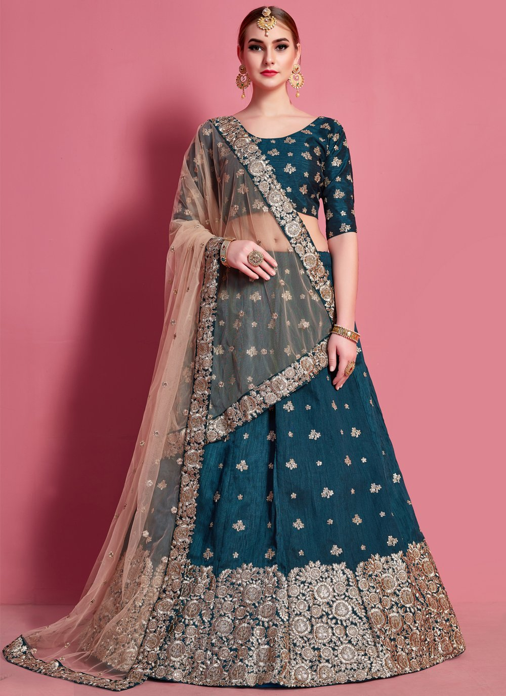 Art Silk Engagement A Line Lehenga Choli