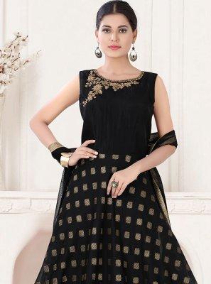 Art Silk Fancy Black Floor Length Anarkali Suit