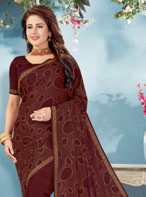 Art Silk Fancy Brown Traditional Designer Saree
