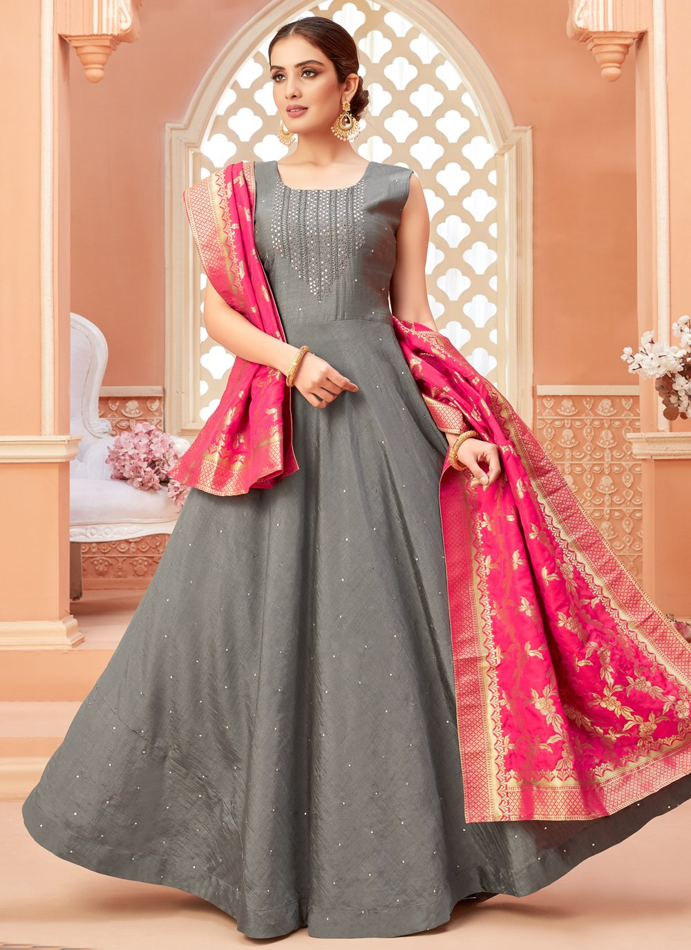 Art Silk Fancy Floor Length Anarkali Salwar Suit