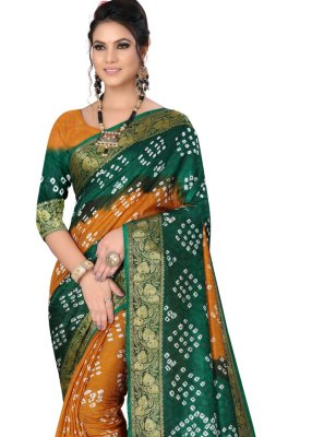 Art Silk Fancy Green and Mustard Designer Traditional Saree