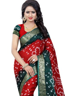 Art Silk Fancy Green and Red Designer Traditional Saree