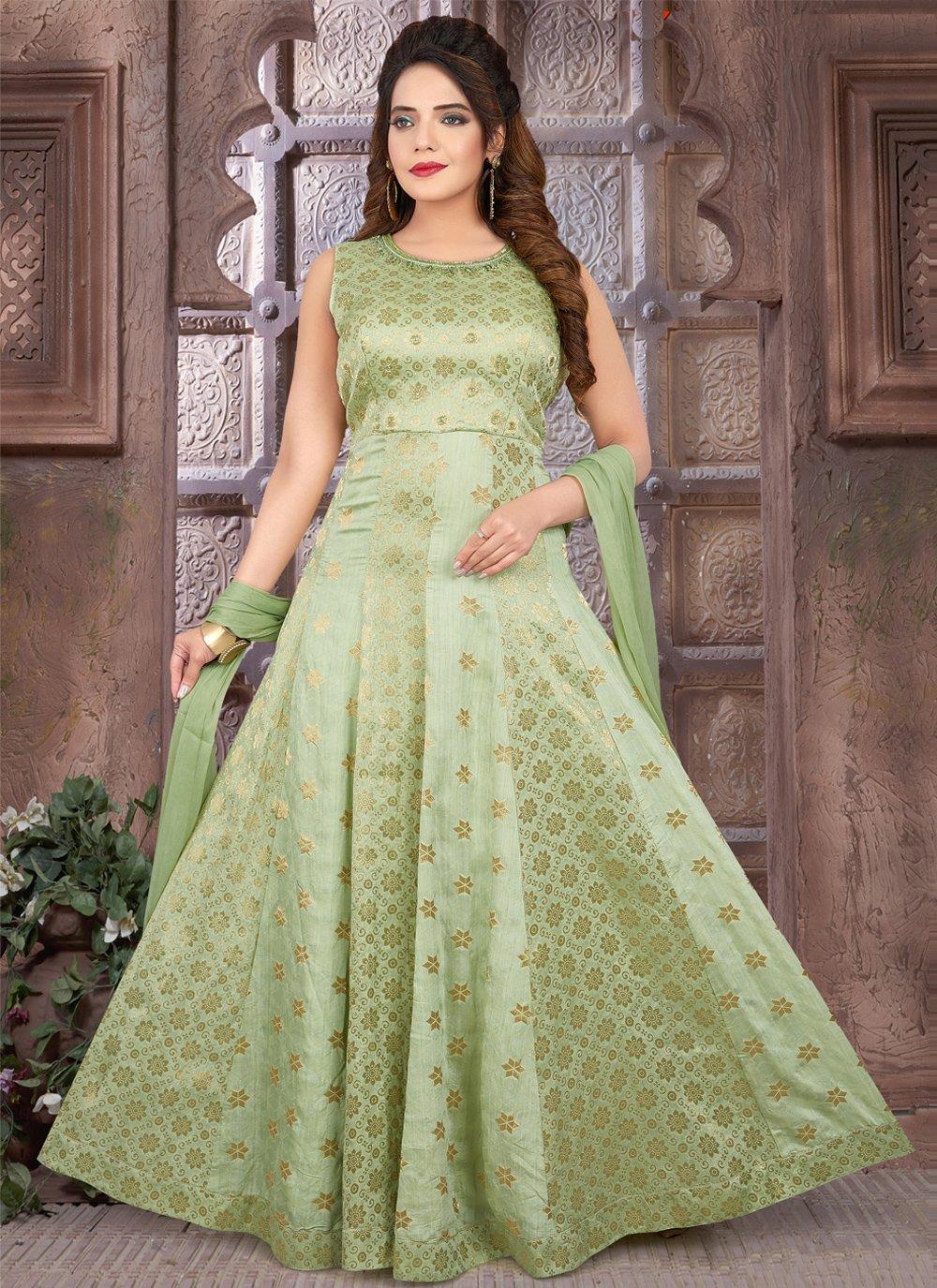 Art Silk Fancy Green Floor Length Anarkali Suit