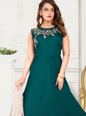 Art Silk Fancy Green Floor Length Anarkali Suit