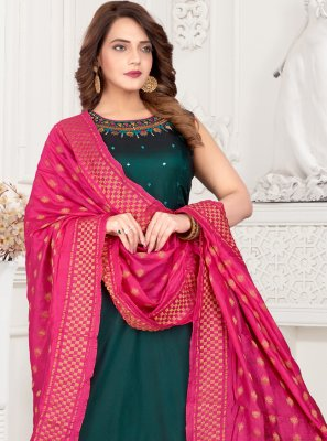 Art Silk Fancy Green Readymade Suit